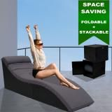 Luxo Coron PE Wicker Sun Bed Outdoor Furniture folded lounge with Dark Grey Charcoal Cushion Sun Bed Sunbed Day Bed - Black