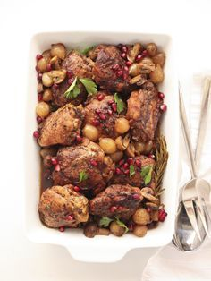 Slow Cooker Balsamic Chicken - chicken, olive oil, onions, mushrooms, garlic, rosemary, bay leaf, balsamic vinegar, chicken stock, tomato paste, brown sugar, pepper, butter, parsley
