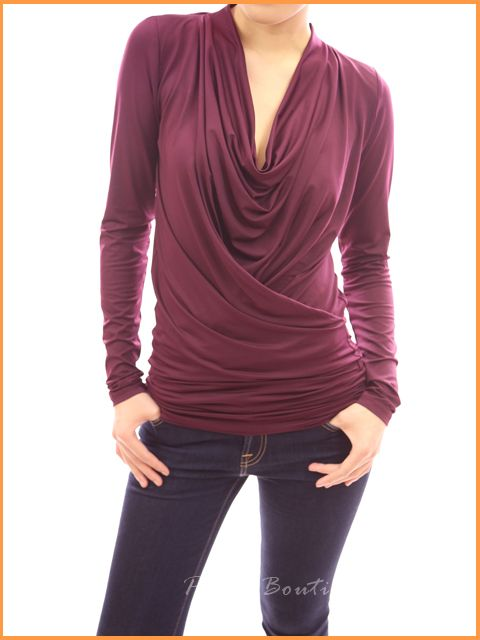 Soft Dramatic Kibbe Cowl Neck Long Sleeve Faux Wrap Top