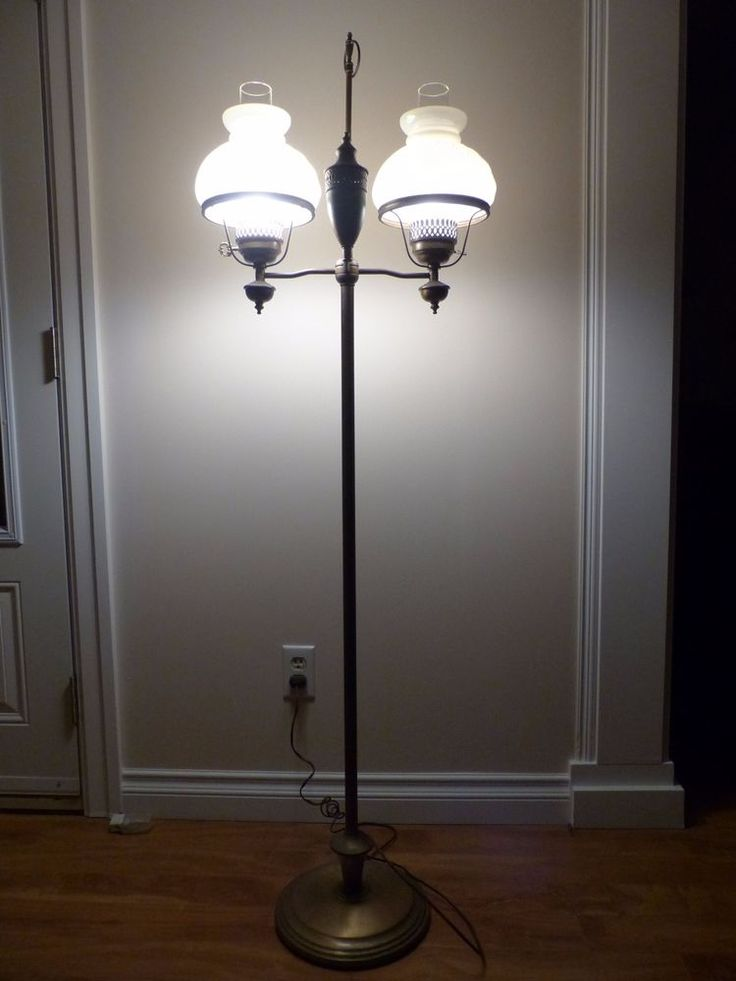 Details about VINTAGE 2ARM STUDENT FLOOR LAMP Solid Brass