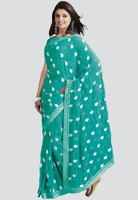 BARCODE 91 Embroidered Green Saree - Green coloured saree for women from Barcode 91. This embroidered saree is made of chiffon.