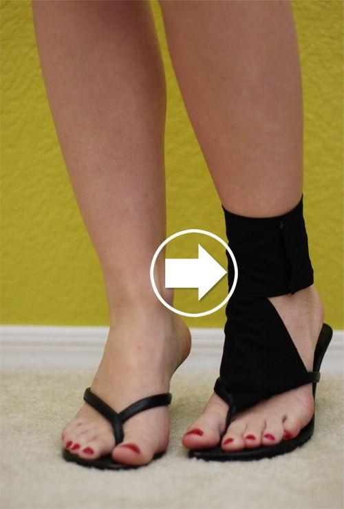 47 DIYs For The sem dinheiro Festival Música-Goer  Renovar o seu chato sandálias, adicionando bandagens