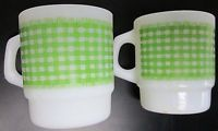 VINTAGE FIRE KING ANCHOR HOCKING GREEN PLAID COFFEE CUPS