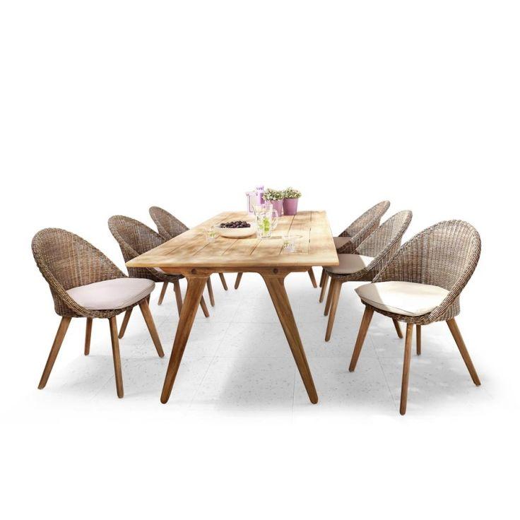 Apple Bee Essgruppe • 6 × Fleur Esstühle + Juul Gartentisch 220 cm mit Teakholzgestell und Tischplatte