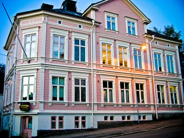 Pink wooden house in Sundsvall, Sweden