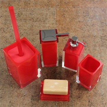 Rainbow Red Bathroom Accessory Set contemporary bath and spa accessories
