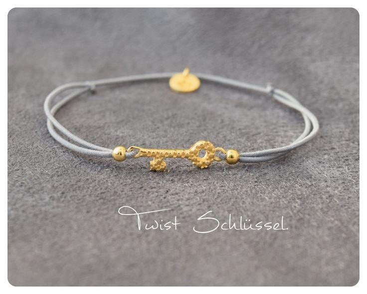 Vergoldete Armbänder - Twistbändchen Schlüssel 925 Silber vergoldet - ein Designerstück von Lilienglueck bei DaWanda