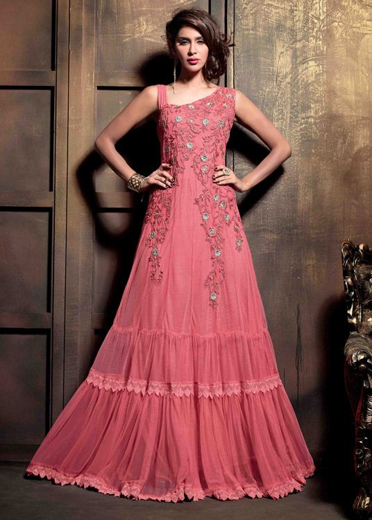 USD 83.27 Pink Net Designer Anarkali Suit 47890