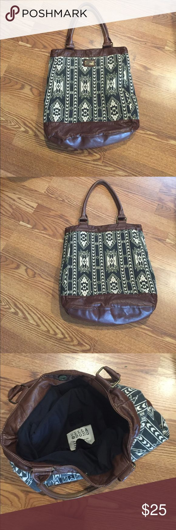 Billabong Aztec Print Tote Bag Large bag with leather handles and bottom, nice and roomy, big enough for students or teachers, in great condition, with inside pocket to carry a small laptop Billabong Bags Shoulder Bags