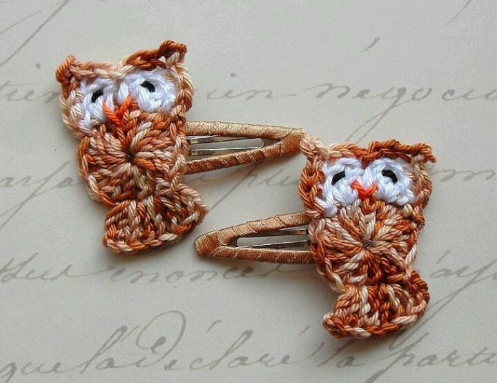 Crochet owl hair clips