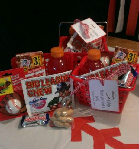 Baseball party favor. Dollar Store basket filled with a Gatorade, Cracker Jacks, Big League Chew, washcloth, peanuts and Baby Ruth.