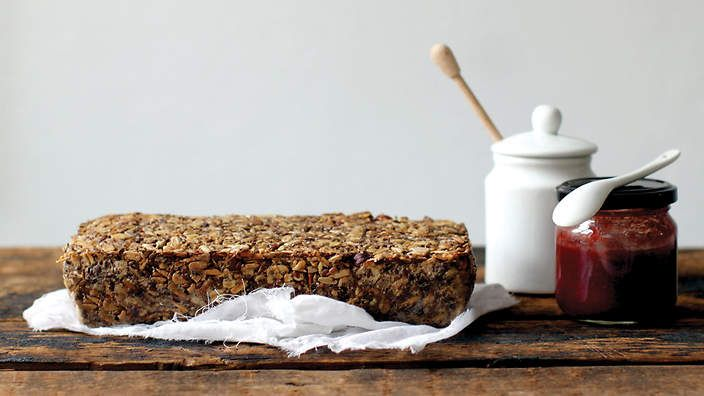 The Life-changing Loaf Of Bread Recipe Breakfast and Brunch, Breads with sunflower seeds, flax seeds, hazelnuts, rolled oats, chia seeds, psyllium seed husks, fine sea salt, maple syrup, coconut oil, water