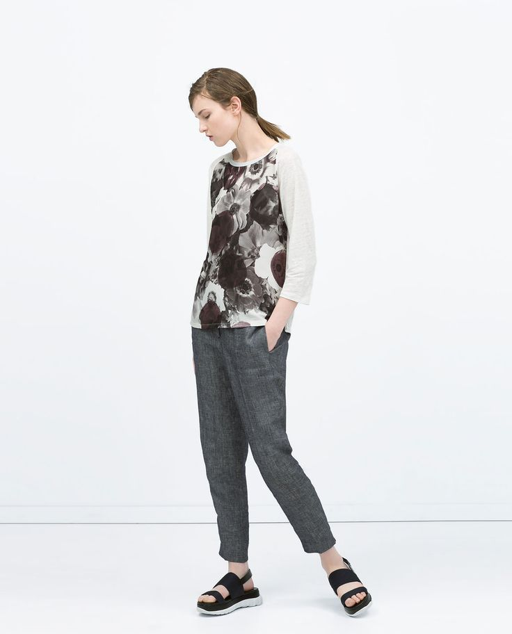 Image 1 of COMBINED FLOWER T-SHIRT from Zara