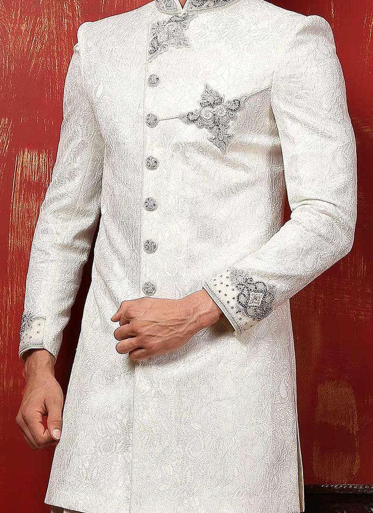 Off White Benarasi Silk Achkan Sherwani