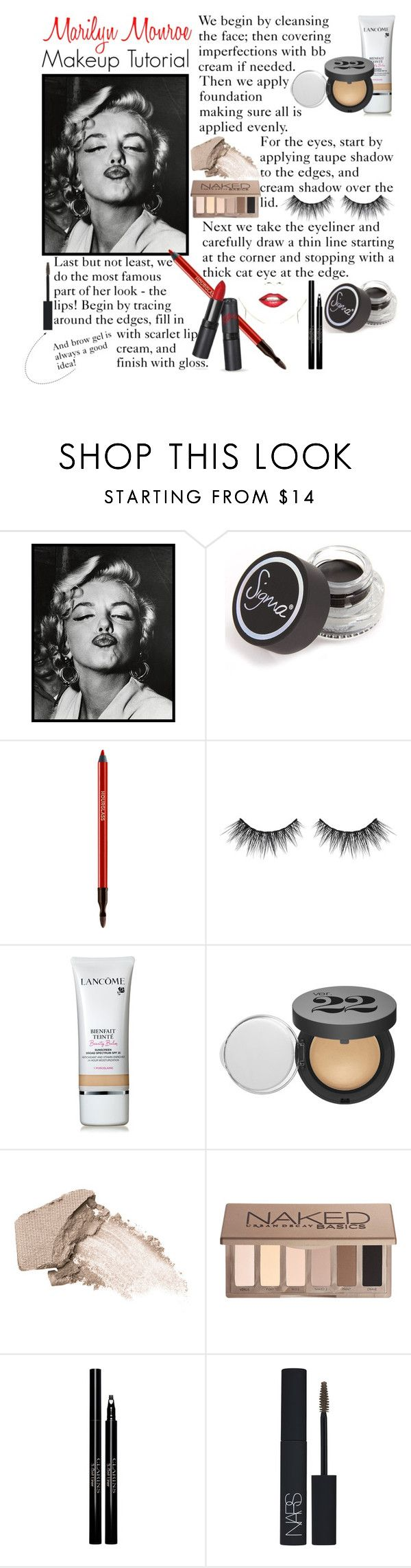 """""""Marilyn Monroe Makeup Tutorial"""" by alkriitz00 ❤ liked on Polyvore featuring 1000Museums, Sigma Beauty, Hourglass Cosmetics, Lancôme, Urban Decay, Clarins, NARS Cosmetics and vintage"""