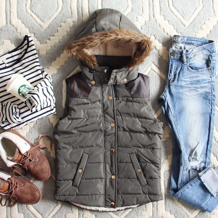 Rugged sage tones and faux fur details adorn this darling vest. A cozy quilted outer pairs with a front zipper and snap button closure, soft side pockets, a faux fur trimmed hood, and a fully lined sherpa interior. Perfect paired with denim for fall.  Color: Dark sage 100% polyester Imported Professionally clean Small Medium Large Bust 36 38 40 Waist 35 37 39 Hips 38 39 40 Length 21 21 21 Bust, waist, and hip measurements are a total circumference. Length is measured from ...