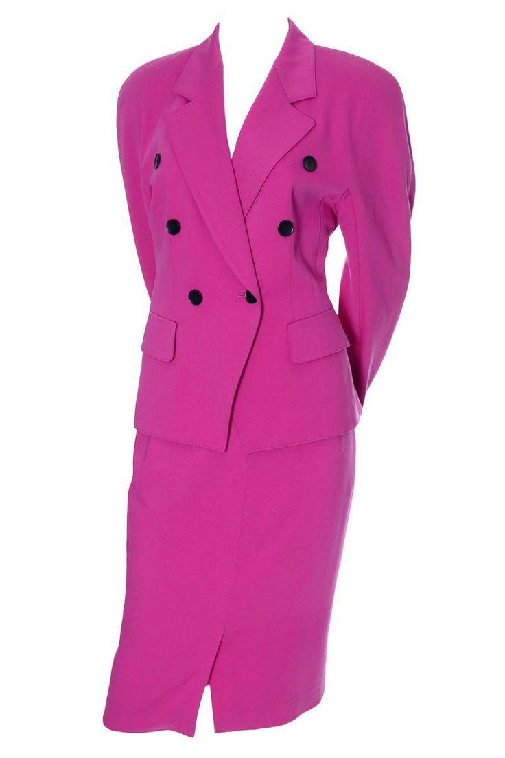 Escada Margaretha Ley Vintage Pink Wool Suit Bergdorf Goodman 4/6