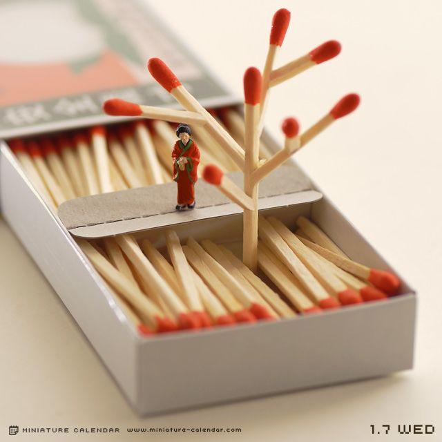 Bud, miniature calendar dioramas by Tanaka Tatsuya