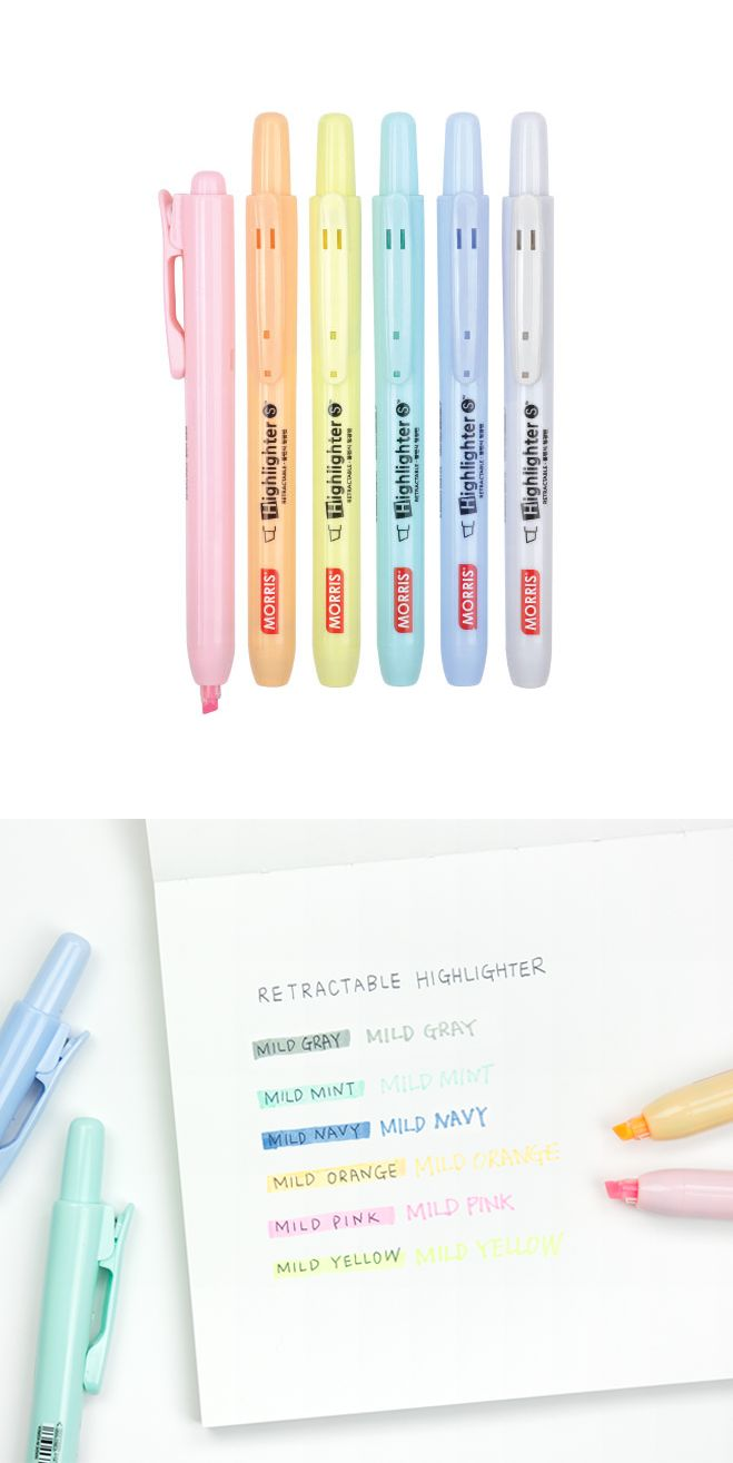Plan, study, and color to your heart's content with the Retractable Highlighter Set! Beautiful pastel colors and retractable, covered tips make this a must have. It comes in sets of 3 or 6, so choose your favorite!