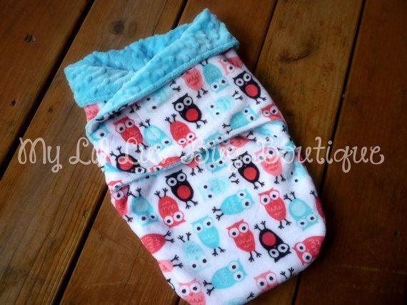 Minky swaddle blanket- turquoise blue with pink and blue owls- baby minky swaddle wrap