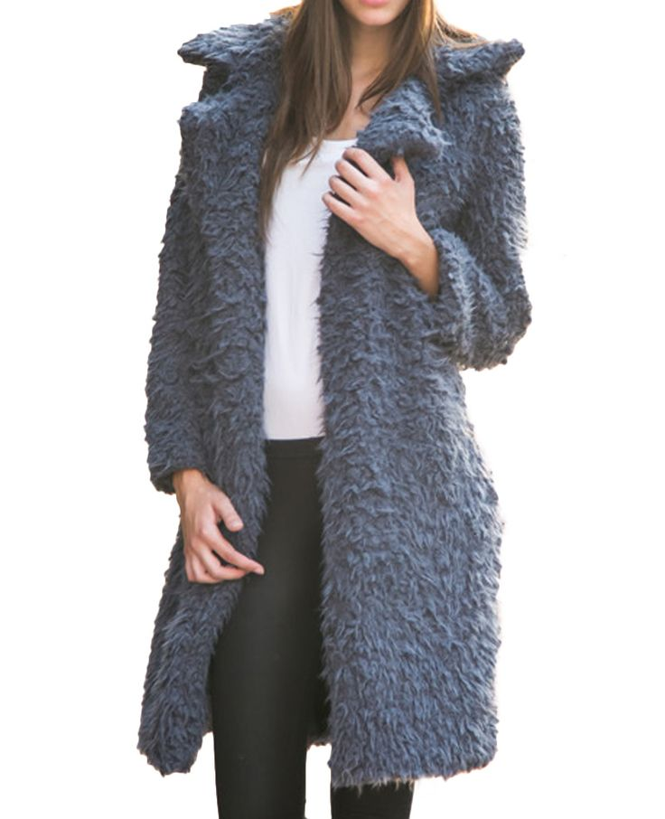 Notch-lapels Open-front Long Berber Fleece Coat | BlackFive