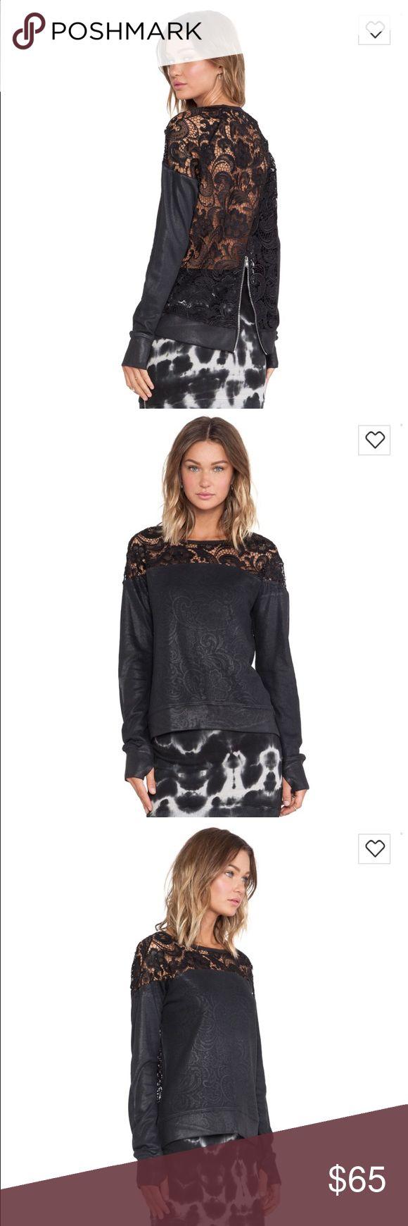 New! Pam & Gela coated lace sweatshirt New! Pam & Gela coated lace sweatshirt -flawless! pam & gela Tops Sweatshirts & Hoodies