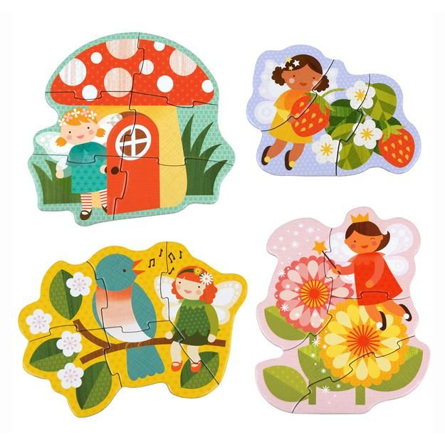 petit collage beginner puzzle fairy friends 4 puzzles in 1