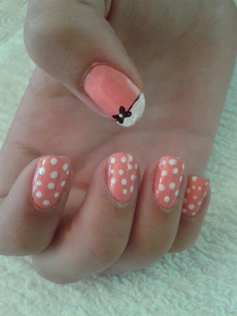 Pink and white polkadot with sharpy bow