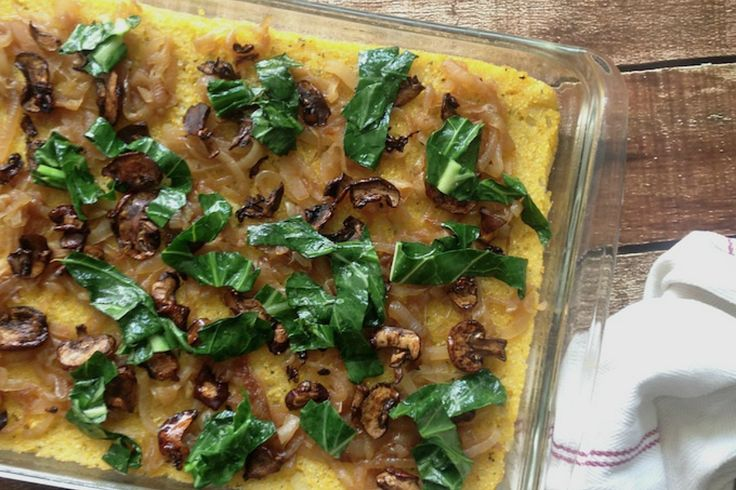 Creamy polenta meets smokey portobello bacon is this casserole fit for entertaining.