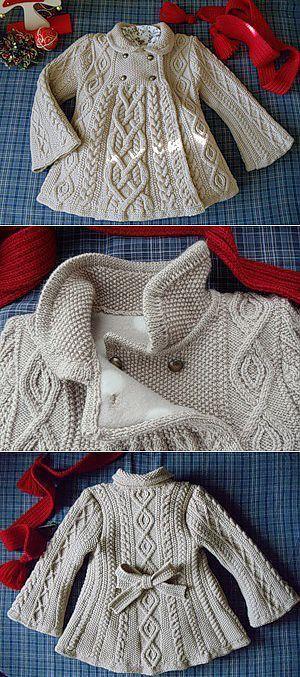 Baby Knitting Patterns Baby Knitting Patterns Cable Knit Elizabeth Coat Free Patter...