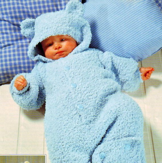 Baby Knitting Patterns Sleeping Bag : Knitting Pattern Baby Sleeping Bag Teddy Cocoon Sleep Sack Onesie All in One ...