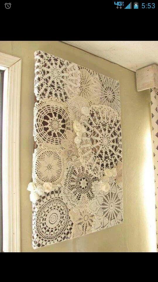 Crochet doily wall art