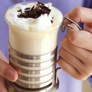 snow cocoa: 2 cups whipping cream, 6 cups milk, 1 tsp vanilla extract and 12 oz white choc chips, crockpot on low for 2-3 hours