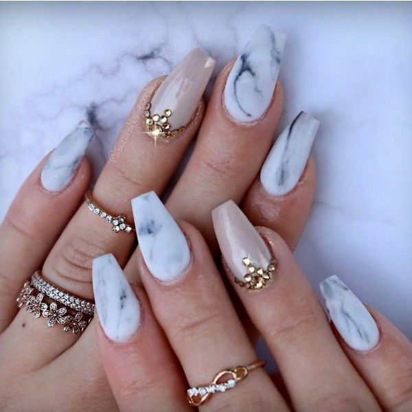 Acrylic Nails Coffin Matte Liked On Polyvore Featuring Beauty Products And Nail Care