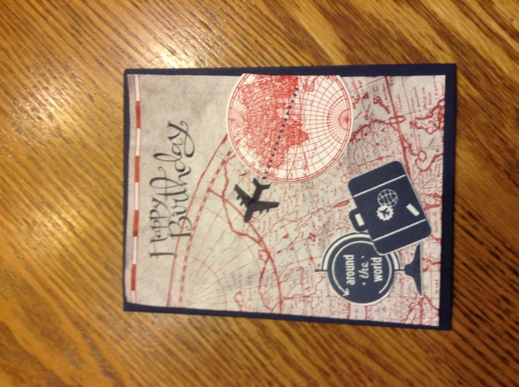 Check out this super great masculine birthday.  Love the combination of DSP, the Open Sea and  Around the World stamps from  Stampin' Up!  This card was created by Debbie Evoy  http://media-cache-ec0.pinimg.com/originals/79/27/66/792766af28d3f4d98cc874f65769c1e2.jpg