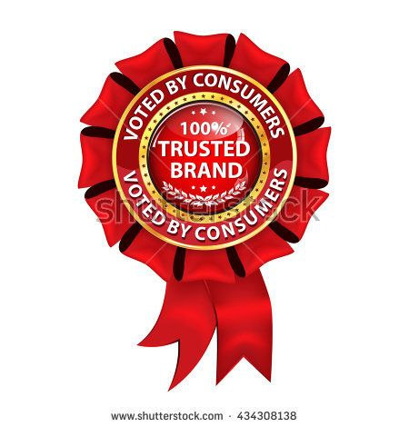 100% Trusted Brand. Voted by consumers - elegant red business label / hanging award ribbon