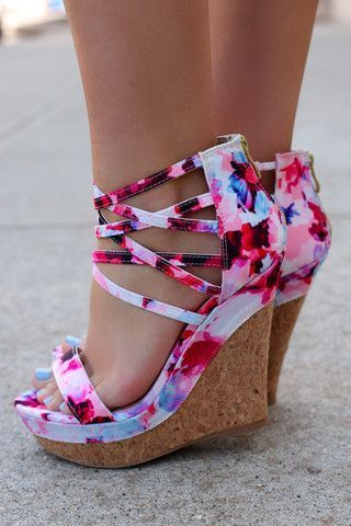 Strappy Pink Floral Wedges, Latest Shoes Trends.