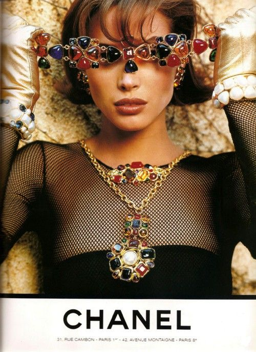 Vintage CHANEL. Christy T - I don't normally like excess but exuberant with jewels Christy T looks okay!