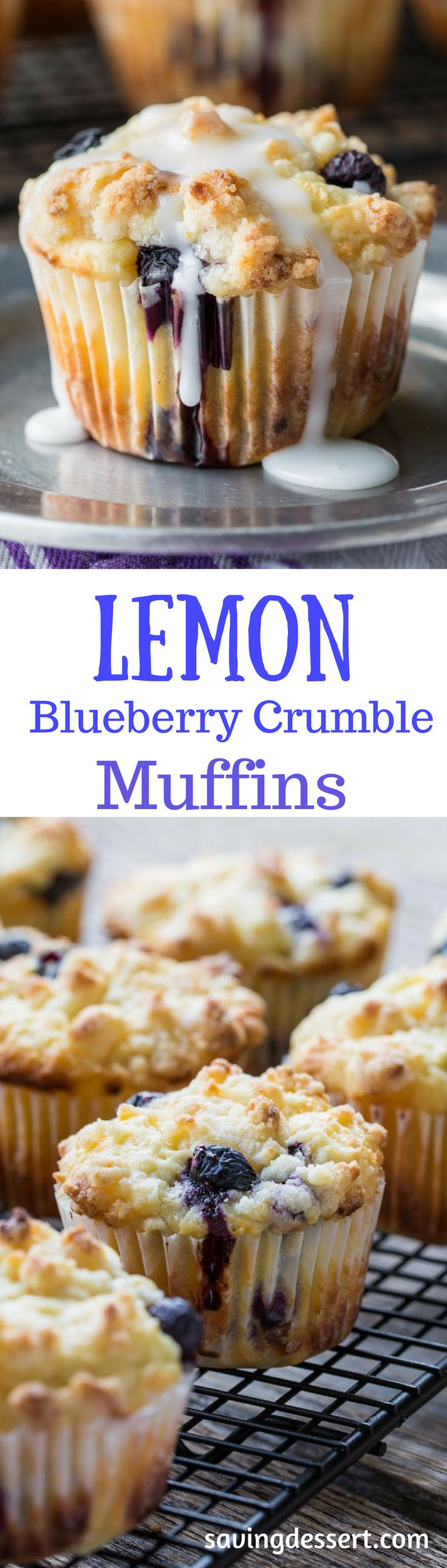 Lemon Blueberry Muffins with a Lemon Crumble Topping ~ Plump, ripe blueberries and tart, fresh lemon juice are the stars in these wonderfully moist, sour cream muffins. Not overly sweet, these muffins are terrific with or without the bright lemon glaze.  www.savingdessert.com