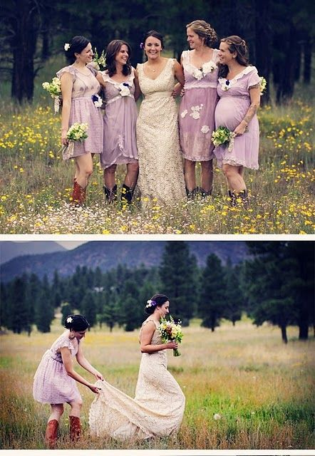 looove this lace wedding dress, Bridesmaids super cute as well. perfect rustic look