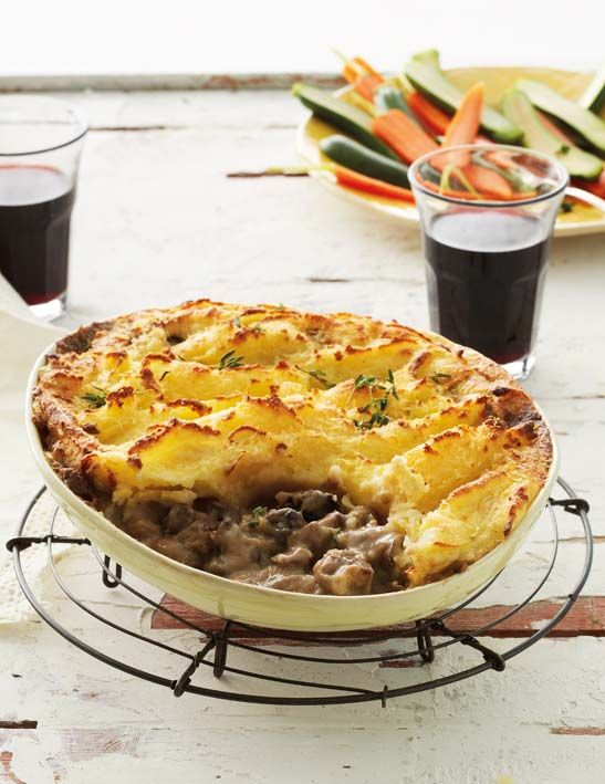 Leek and mushroom pie with lemon mash