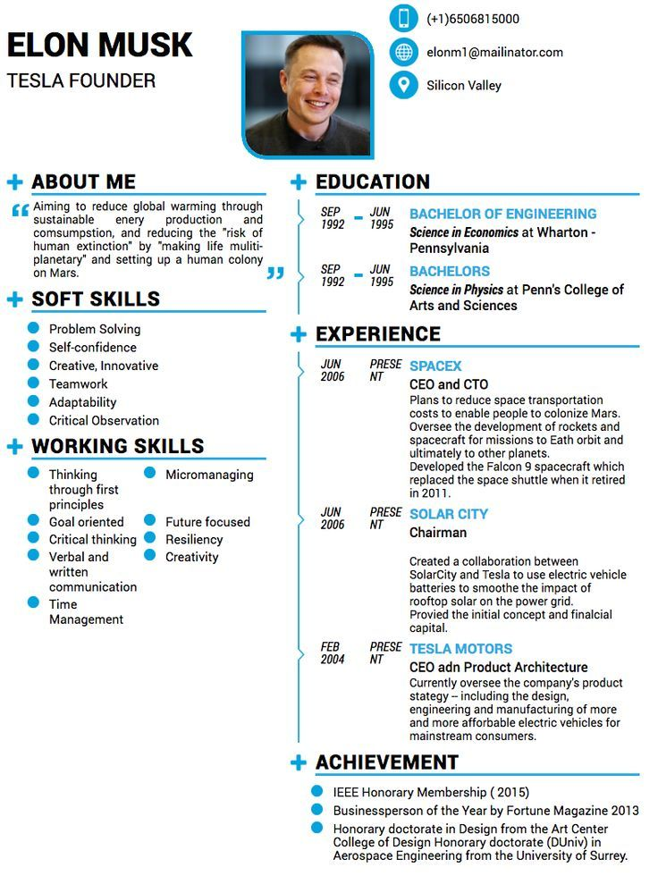 Image result for cv elon musk good resume examples one