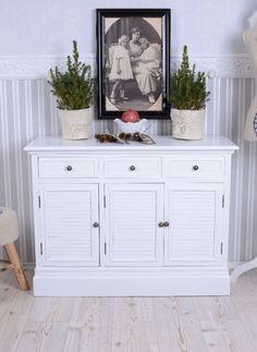 Anrichte im Landhausstil Sideboard Weiss Lamellen Türen Schubladen