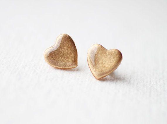 FREE WORLDWIDE SHIPPING  Pale Gold Glitter Heart door smafactory, $14.00