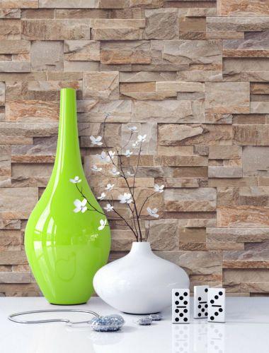tapete stein steinwand vlies mauer beige fototapete. Black Bedroom Furniture Sets. Home Design Ideas