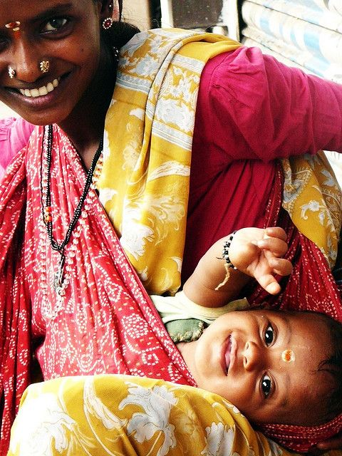 Mother and child, Pondicherry, India  India. Women. Mothers. Beautiful. Somebody's Mama.