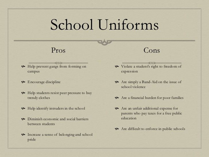 argument for uniform policies in school These policies can perpetuate discrimination against female students, as well   about the dress-code policy at her high school—woodford county high—has   educators and sociologists, too, have argued that dress codes.