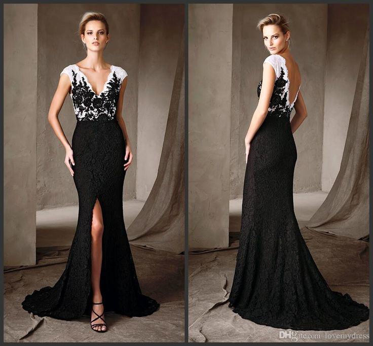 Celebrity Dress Cheap Lace Wear Evening Gowns V Neck Open Back Sexy White Black Prom Dress Formal Wear Front Split Sweep Train Fashion Ladies Dresses Online Online Dress Shop From Lovemydress, $104.02  Dhgate.Com