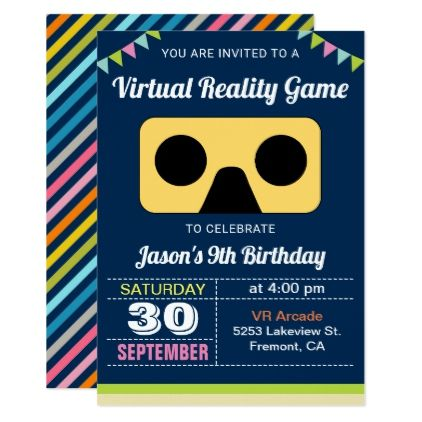 VR Virtual Reality Kids Birthday Party Invitation - birthday invitations diy customize personalize card party gift