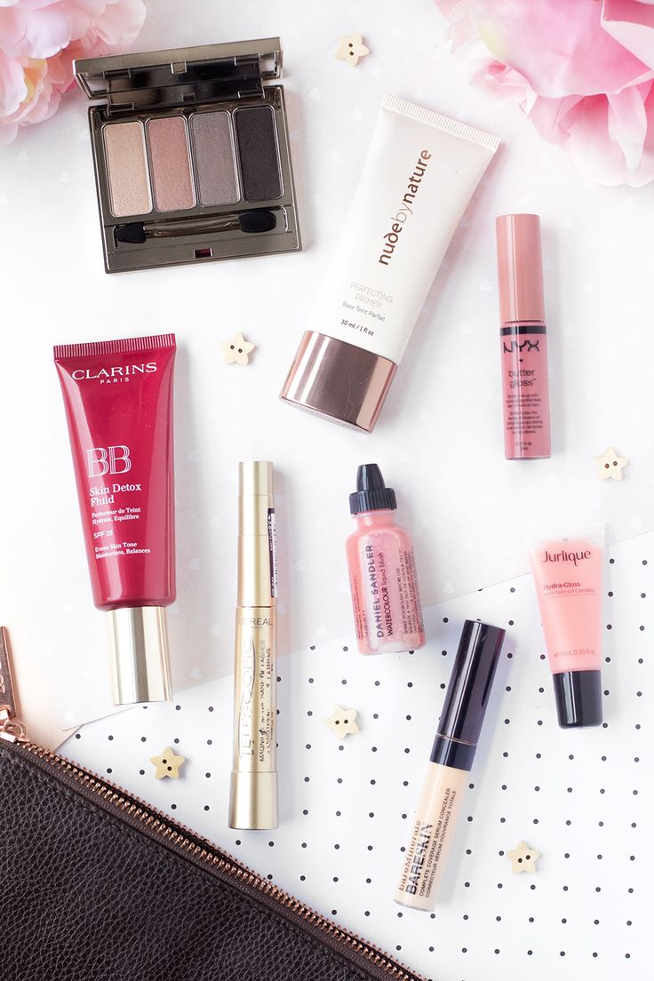 A look inside my August makeup bag featuring brands such as Clarins, Nude by Nature, Jurlique, Daniel Sandler and NYX. Read on The Makeup Directory www.themakeupdirectory.co.uk